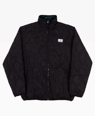 Butter Goods Reversible Puffer Jacket Black Leopard Front