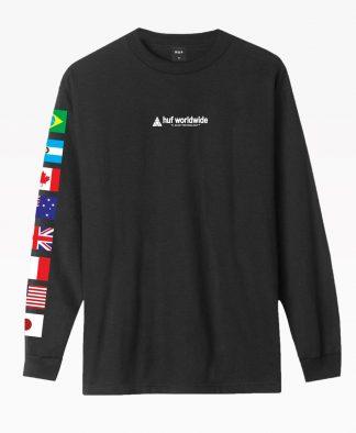 Huf Flag Union Long Sleeve T Shirt Front