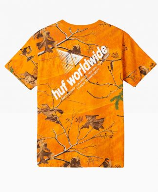 Huf Realtree Peak Logo T Shirt Orange Back