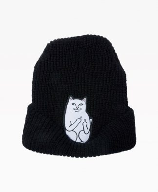Ripndip Lord Nermal Ribbed Beanie Black Front2