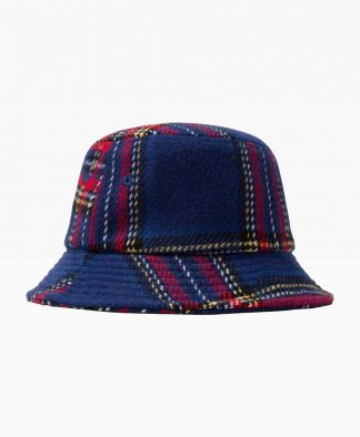 Stussy Big Logo Plaid Bucket Blue Back
