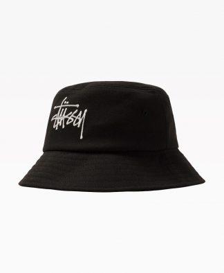 Stussy Big Logo Twill Bucket Hat Black Front