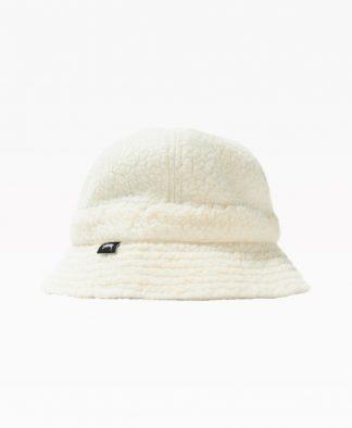 Stussy Sherpa Fleece Bell Bucket Hat White Front
