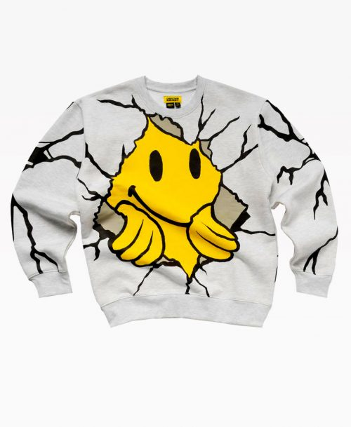 Chinatown Smiley Dry Wall Breaker Crewneck Ash Gray Front