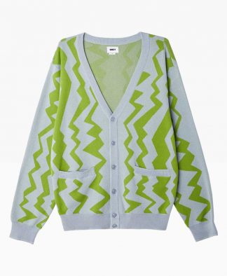 Obey Clothing Static Cardigan Blue Green Front
