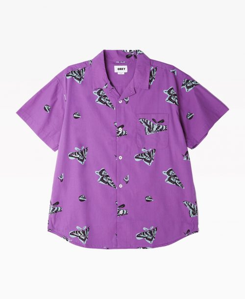 Obey Buterfly Shirt Purple Front