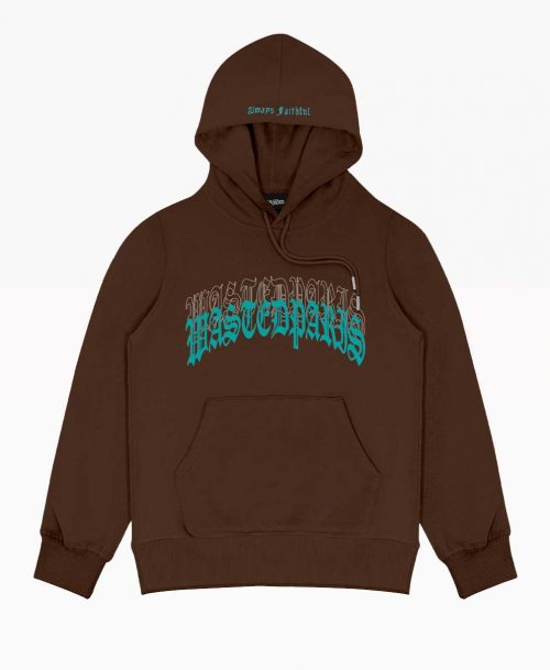 Hoodie Brown Wasted Front